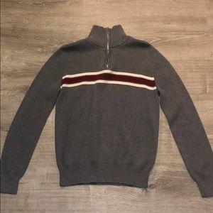 Gray & Red 1/4 Zip Sweater